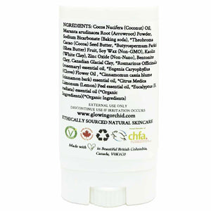 100% Natural Vegan Immuno Defense Deodorant in Plastic Tube Container Travel Size Back Ingredients (15 g | 0.5 oz) Glowing Orchid Organics
