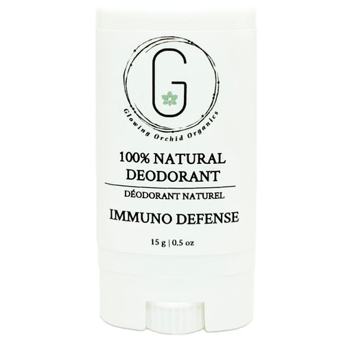 100% Natural Vegan Immuno Defense Deodorant in Plastic Tube Container Travel Size Front (15 g | 0.5 oz) Glowing Orchid Organics