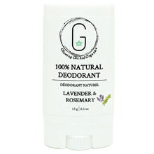 100% Natural Vegan Lavender & Rosemary Deodorant in Plastic Recyclable Tube Container Travel Size Front (15 g | 0.5 oz) Glowing Orchid Organics
