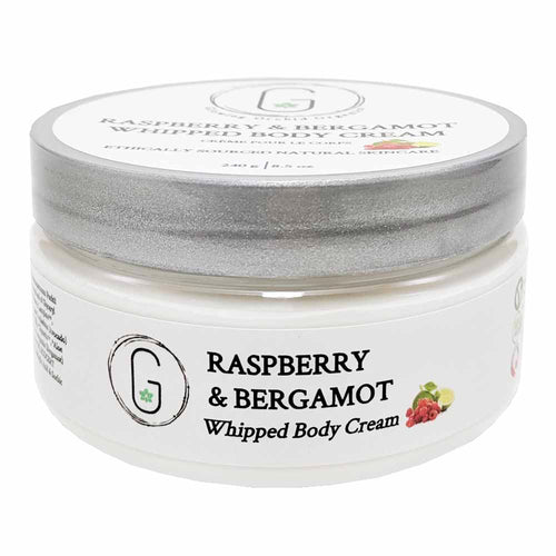 Raspberry & Bergamot Whipped Body Cream 240 g  Front Glowing Orchid Organics Clean Beauty Award Finalist Body Care
