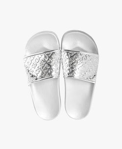 Chance Silver Women's Slider Sandals - 60% OFF SALE