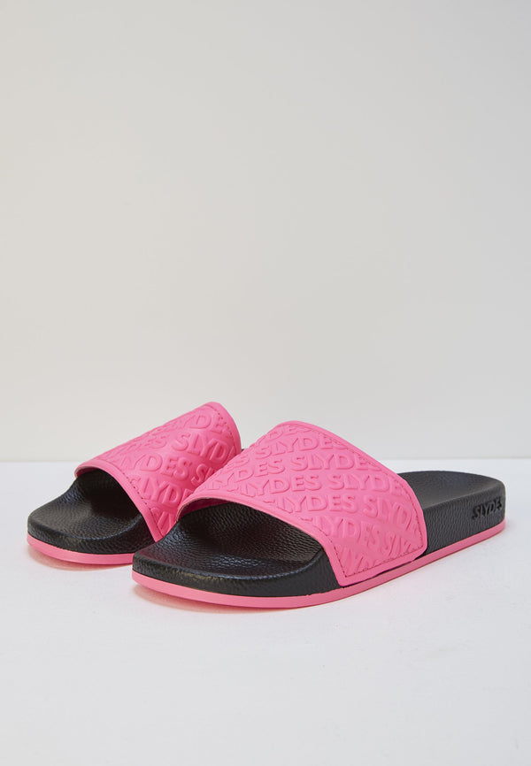 Aria Women's Black/Neon Pink Sliders