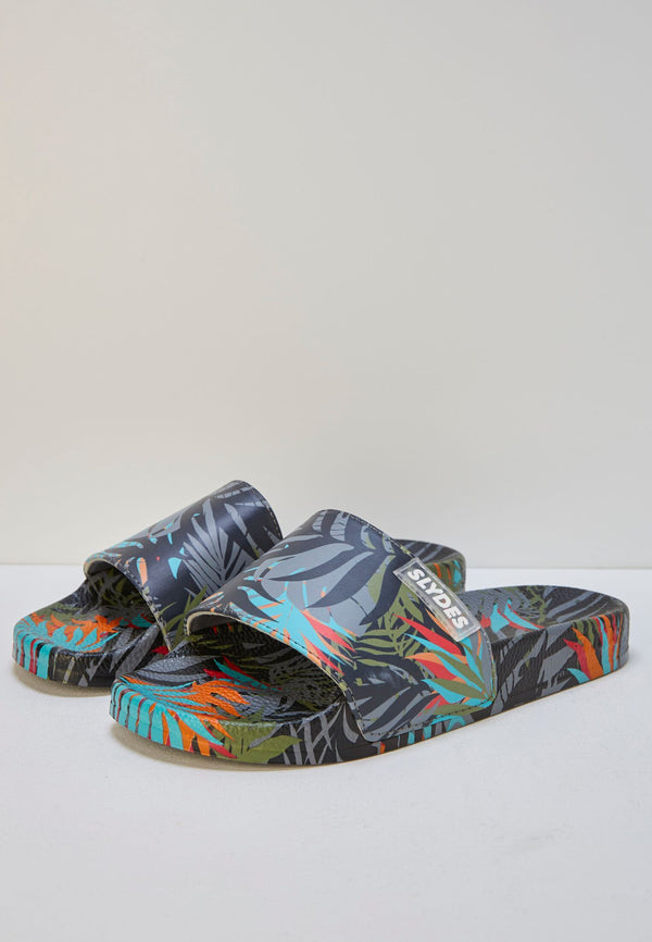 Cyber Dark Men's Multi Print Sliders