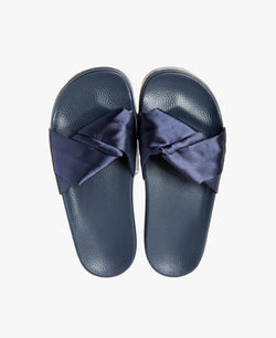 Dessa Twist Fabric Navy Women's Slider Sandals - 60% OFF SALE