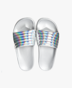 Port Silver Iridescent Women's Slider Sandals