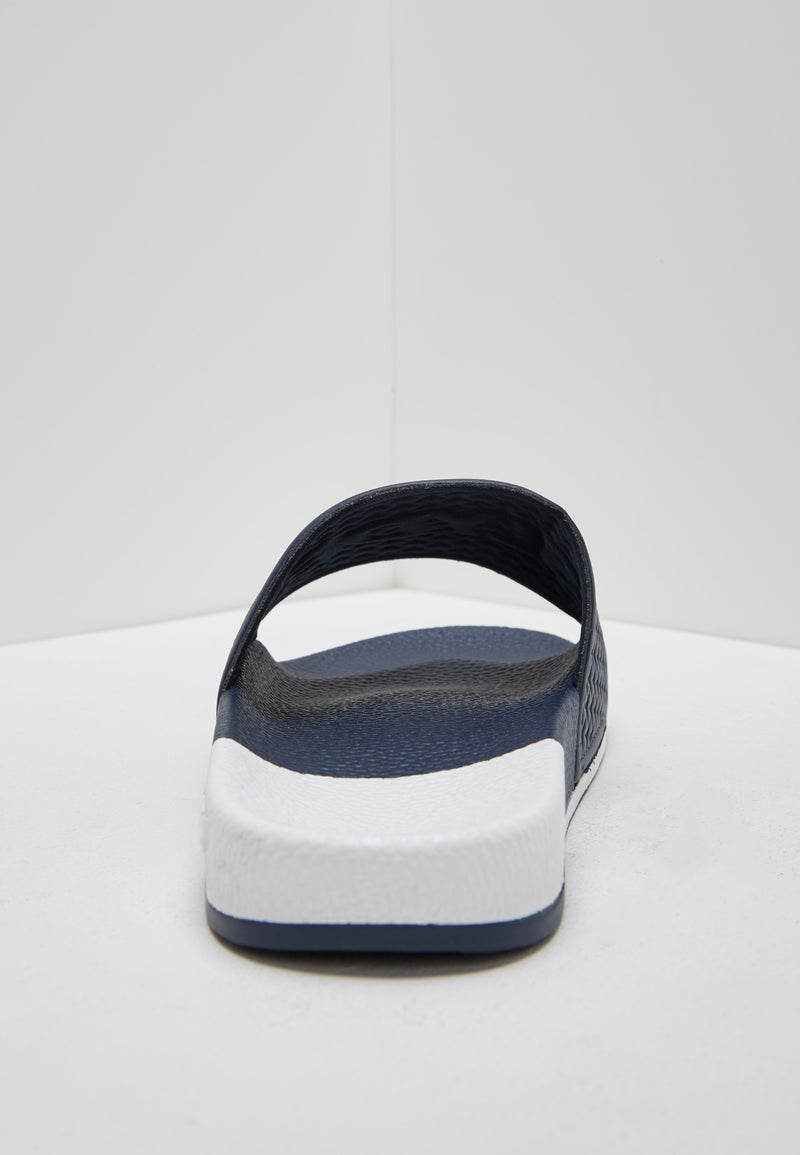 Split White and Navy Men's Slider Sandals