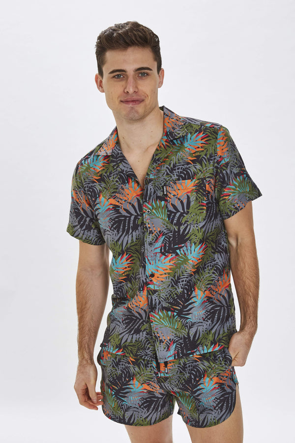 Delano Mens Dark Cyber Print Beach Shirt