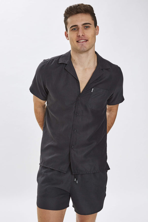 Delano Mens Black Beach Shirt