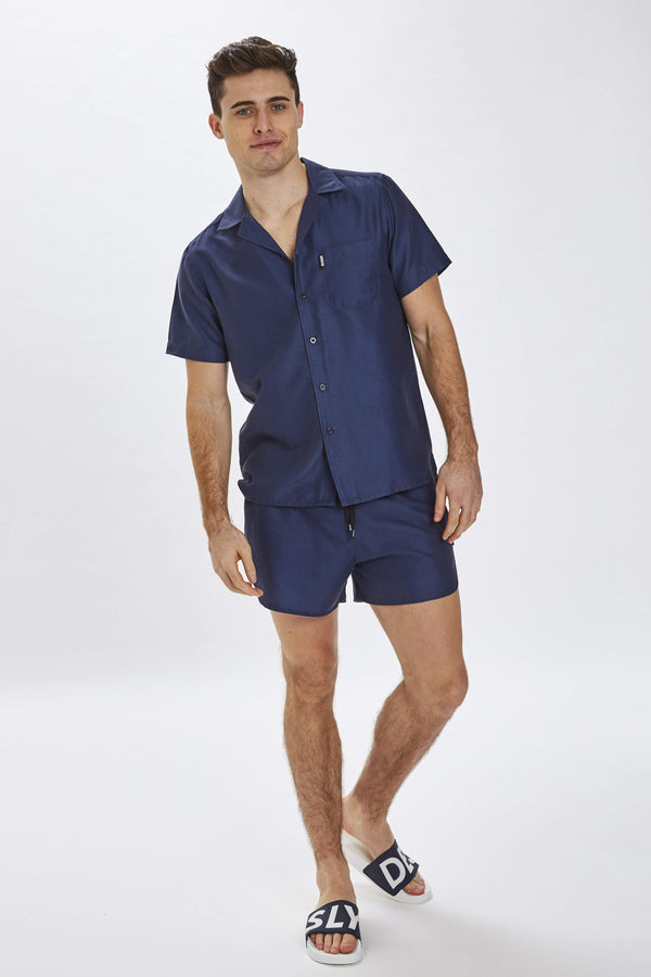Delano Mens Navy Beach Shirt
