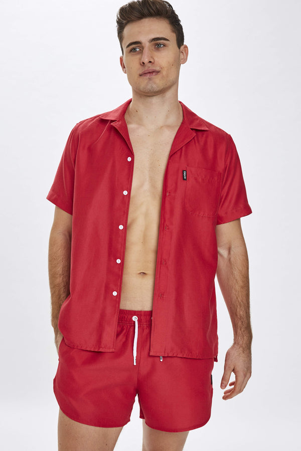 Delano Mens Red Beach Shirt