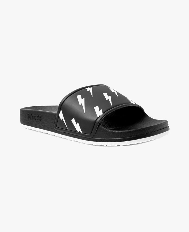 Men's Tazer Bolt Print Black Slider Sandals - SALE - WAS €35,00