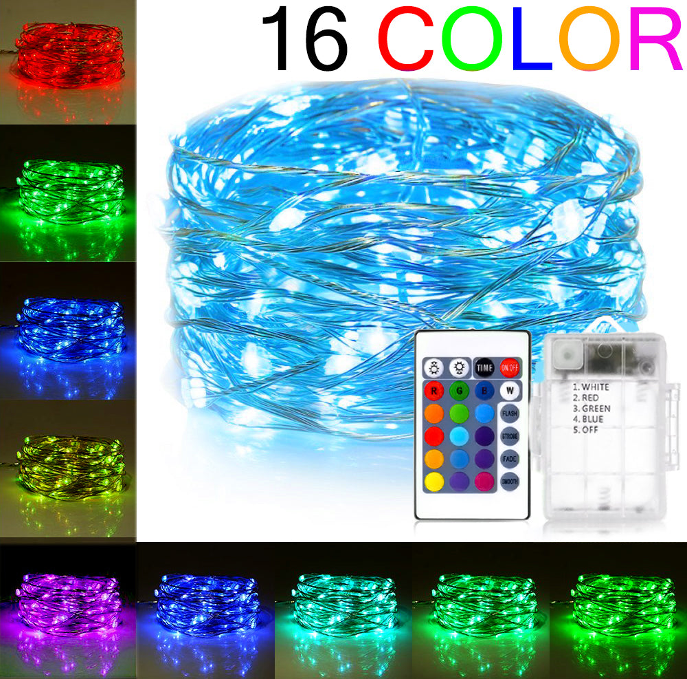 BOHON LED String Lights 50 LEDs 16 Colors Changing Fairy Lights ...