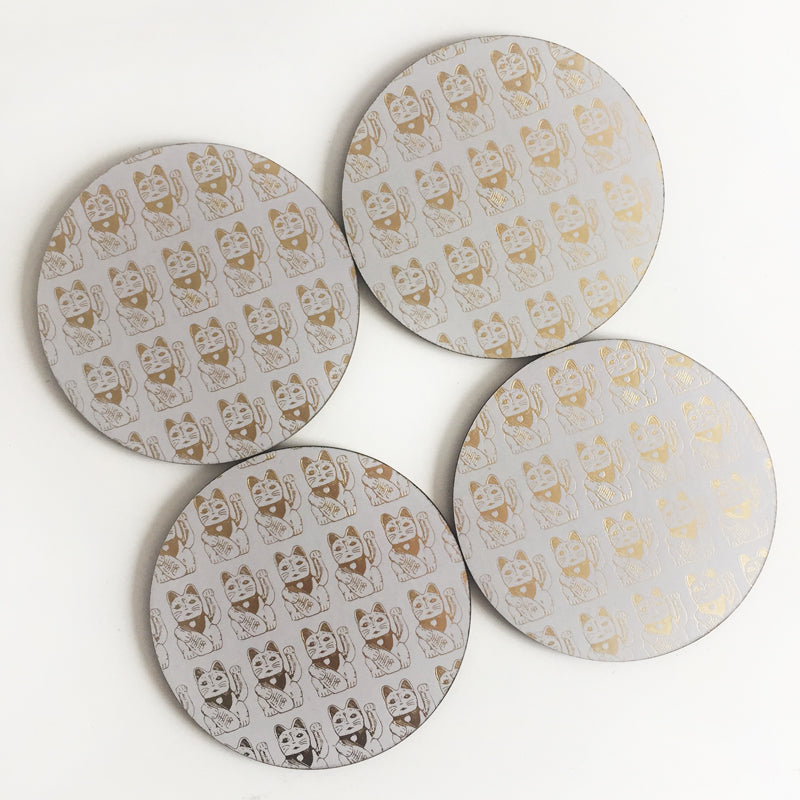 Lucky Cat Coasters (Gold)