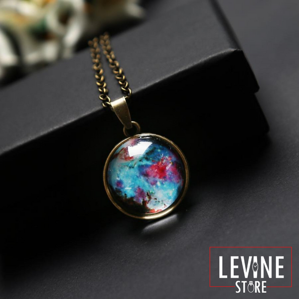 Universe in a Neckleace - Handmade glass ball