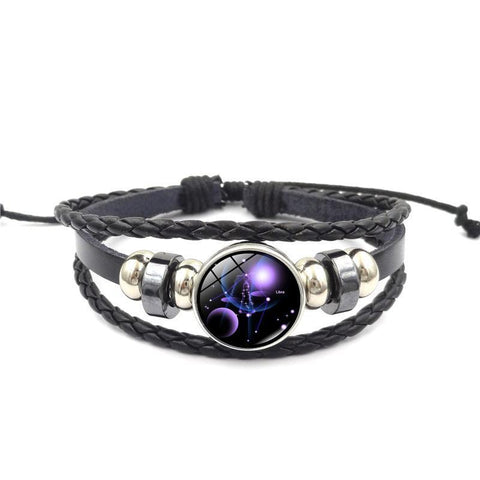 Zodiac Constellation Leather Bracelet