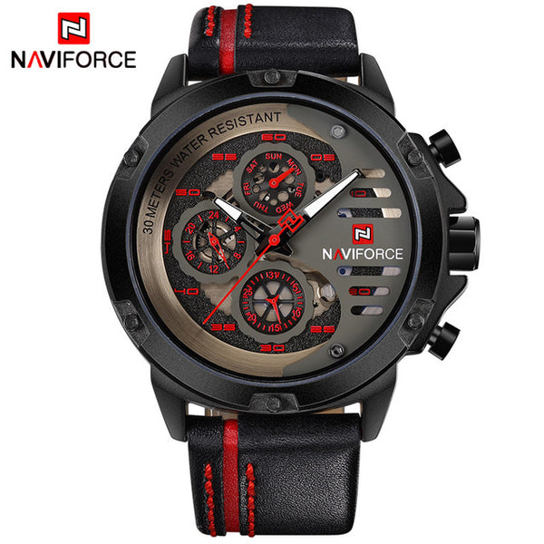 NAVIFORCE Leather Sport Wrist Watch Men Waterproof
