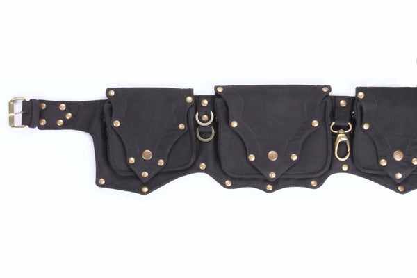 Black Cotton Canvas Multi-Pocket Festival Utility Belt