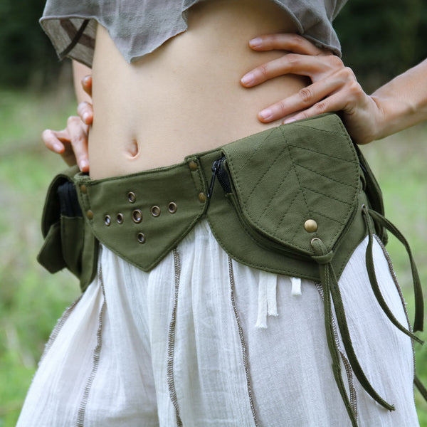 THE SHAKI Leaf Pocket Belt - Burgandy