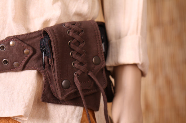 THE MAKU Utility Belt, Brown with Antique Brass Hardware