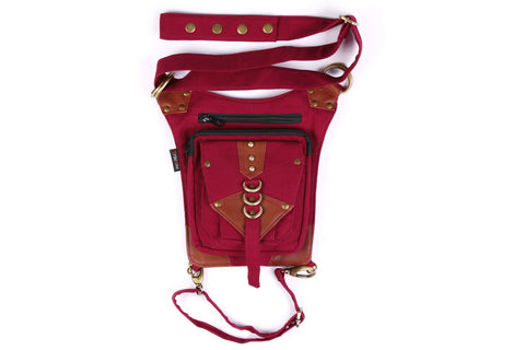 THE BANDAR Side Belt, Burgundy with Brown Trim