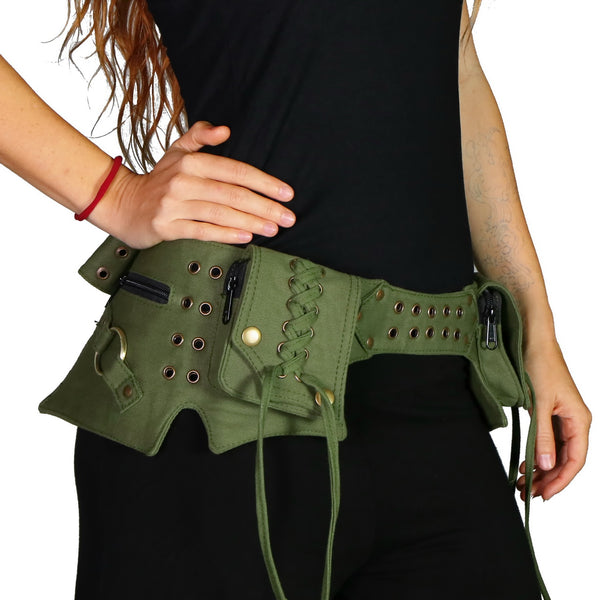 THE MAKU Utility Belt, Green with Antique Brass Hardware