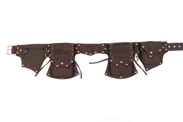 Brown Cotton Canvas Multi-Pocket Festival Utility Belt