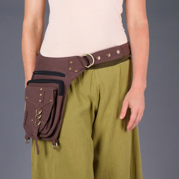 Woman wearing Brown Festival Utility Belt