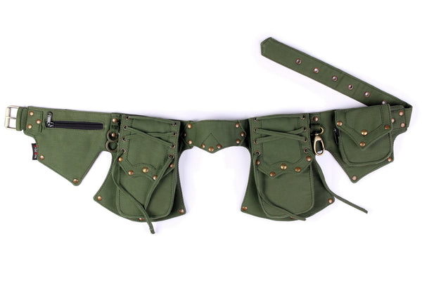 THE PAMIR Utility Belt, Green with Antique Brass Hardware