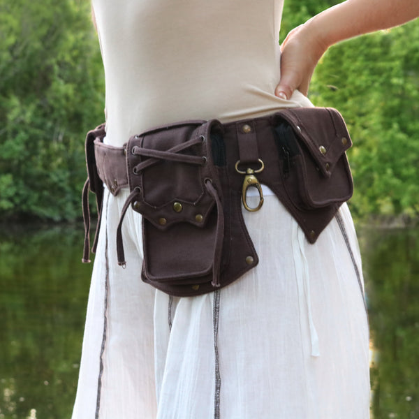 Woman wearing Brown Multi-Pocket Festival Utility Belt