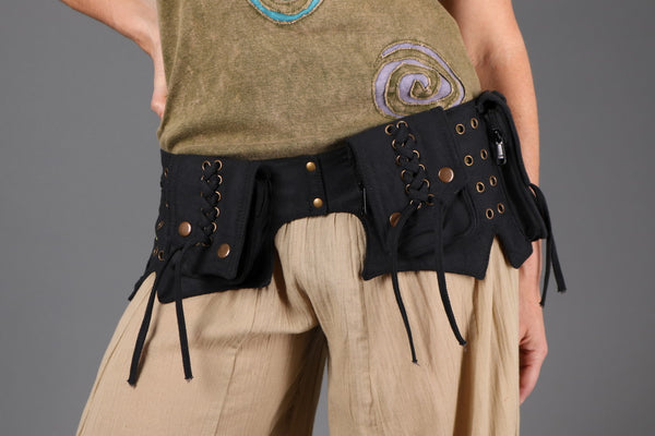 Woman wearing Black Multi-Pocket Festival Utility Belt