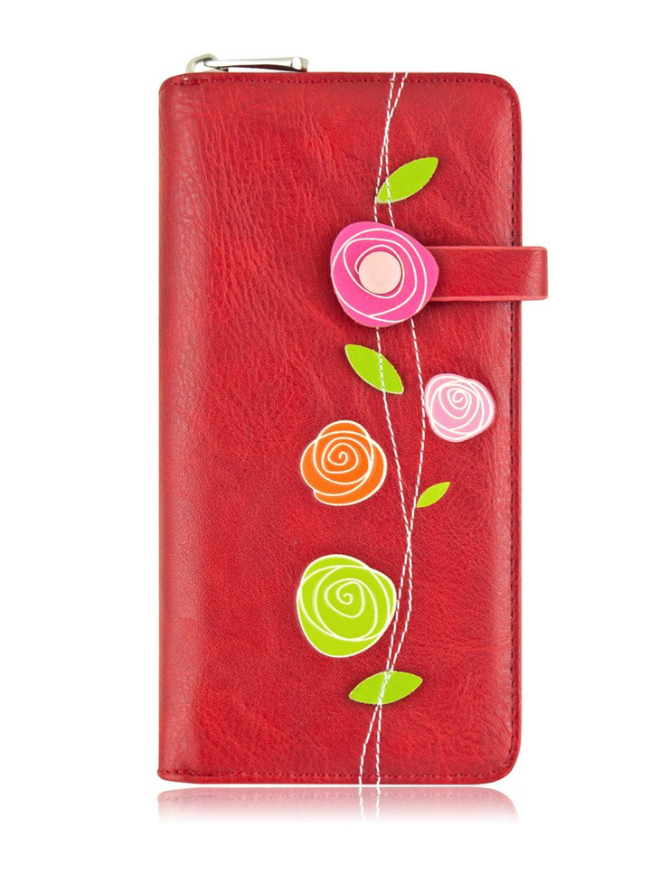 Portefeuille Design Roses Rouge