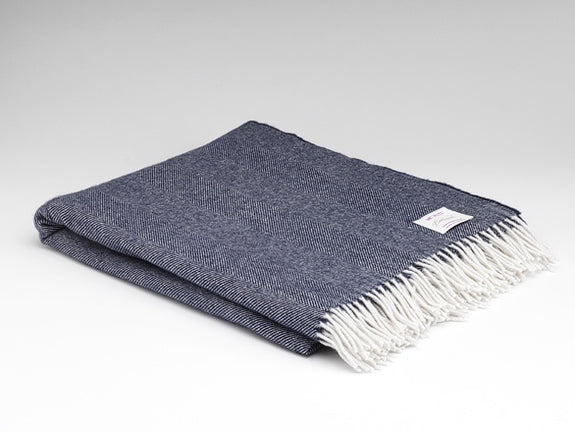 Navy Herringbone Supersoft Throw
