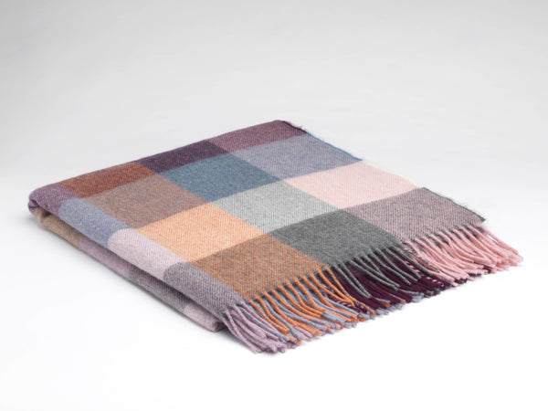 Rose Dust Check Alpaca Throw