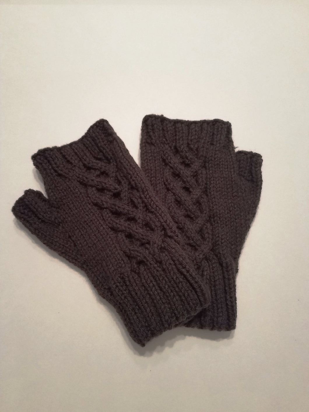 Fingerless Gloves | Dark Brown | Irish Knot Design | Hand-knitted