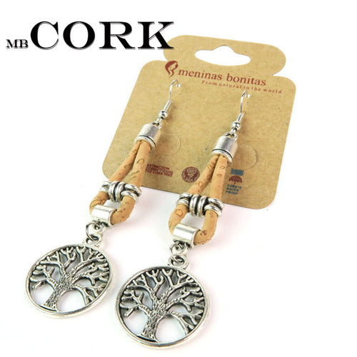 tree of life cork earrings handmade