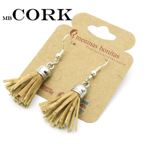 Tassel cork earrings handmade