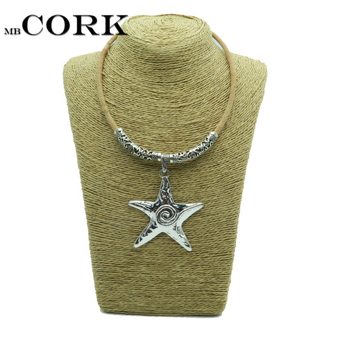 Natural Cork,starfish necklace with Ancient silver Tube sea star
