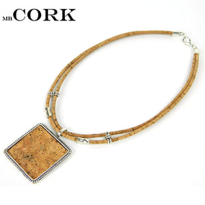Square necklace, cork patch accessories