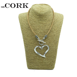 Natural Cork,love heart necklace