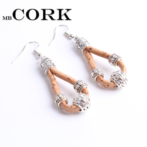 Silver metal beads cork earrings handmade