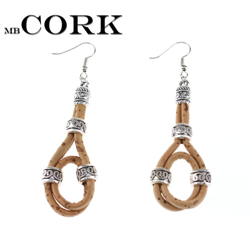 Circle with metal beads cork earrings handmade