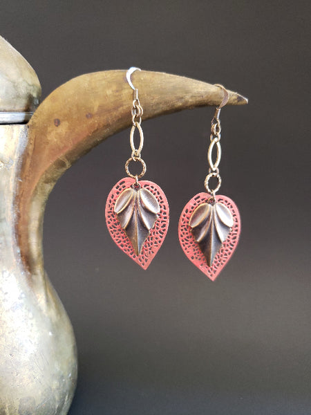 Dancing Leaves Earrings in Living Coral + Brass