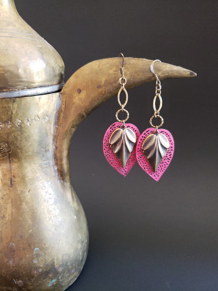 Dancing Leaves Earrings in Kissing Booth + Brass