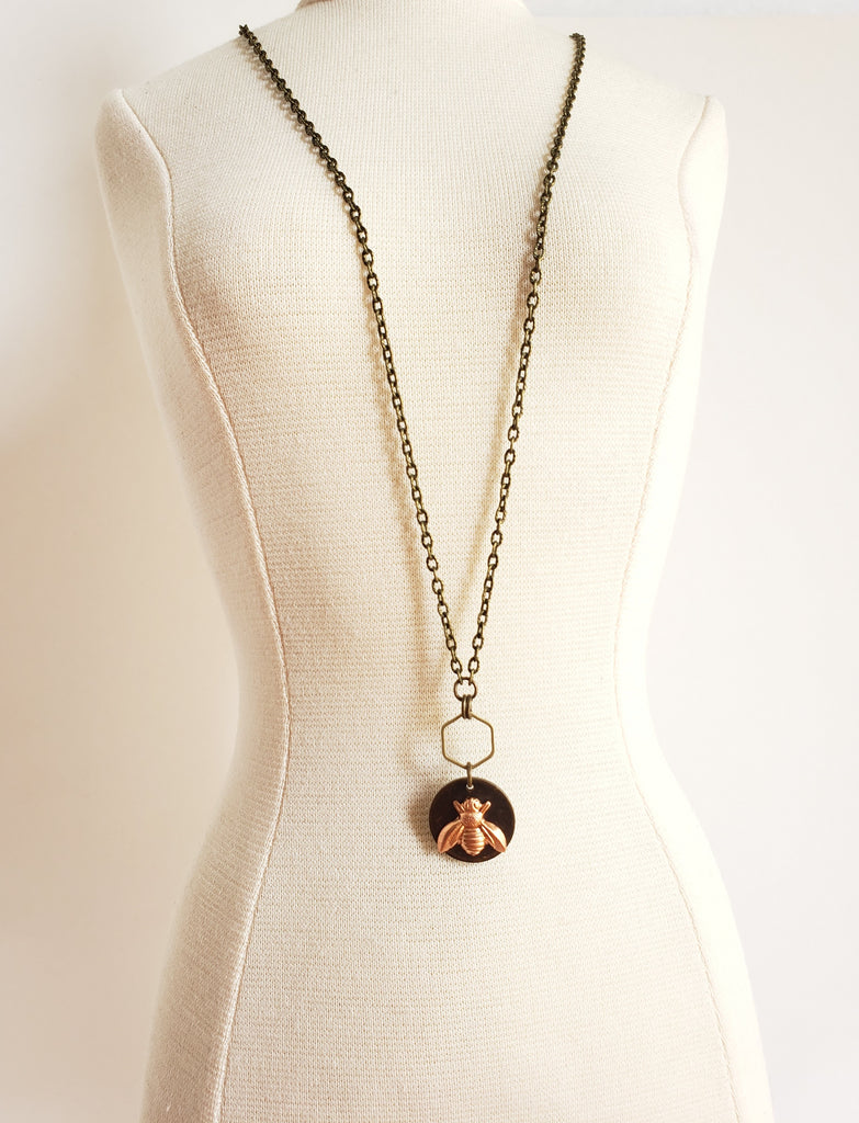 Bee The Change Necklace in Brass + Copper