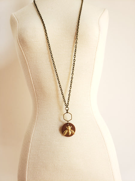 Bee The Change Necklace in Copper + Brass