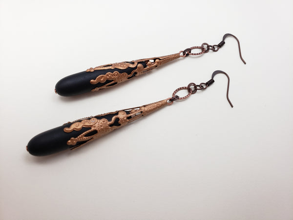 Antwerp Earrings in Jet + Copper