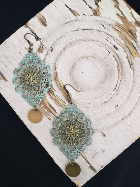 Tibetan Lace in Duck Egg + Brass