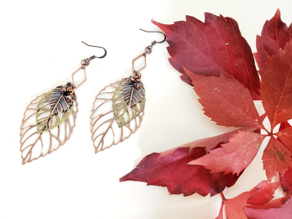 A Fall Wind Blows Earrings in Copper + Brass