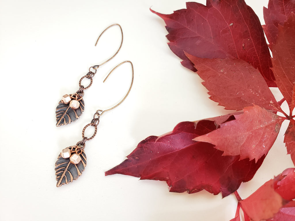 New Beginnings Earrings in Copper + Shimmering Blush