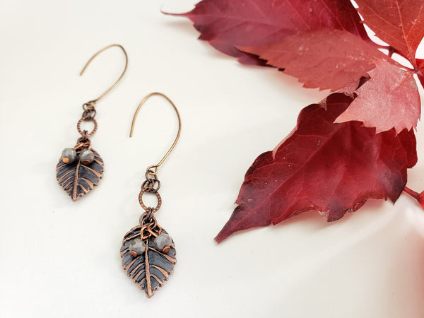 New Beginnings Earrings in Copper + London Fog